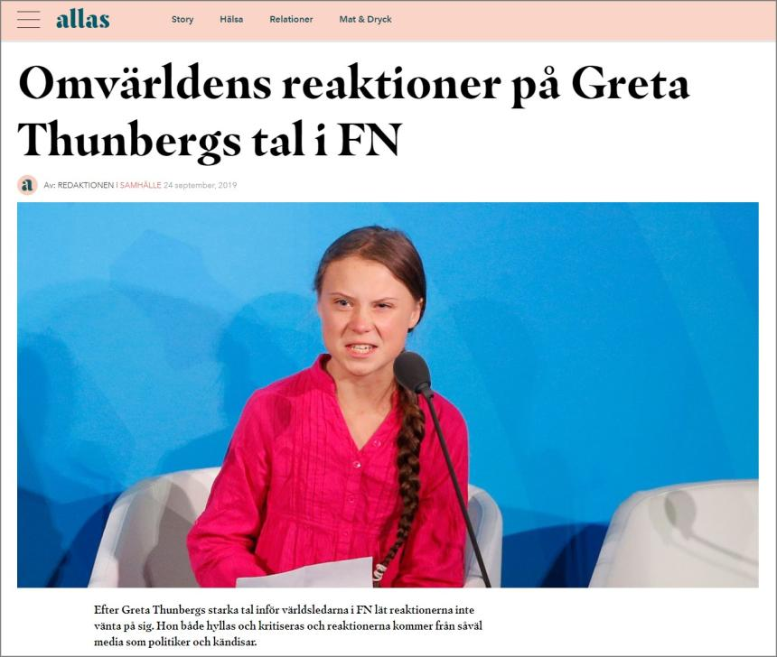 Greta Thunberg in the UN.
