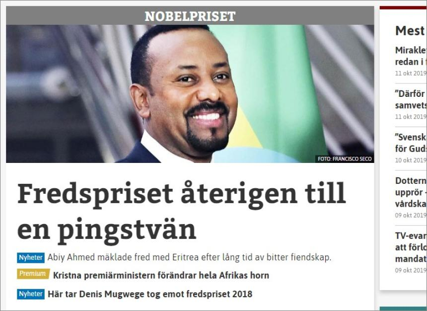 Nobel Peace Prize 2019 zuwa Abiy Ahmed.