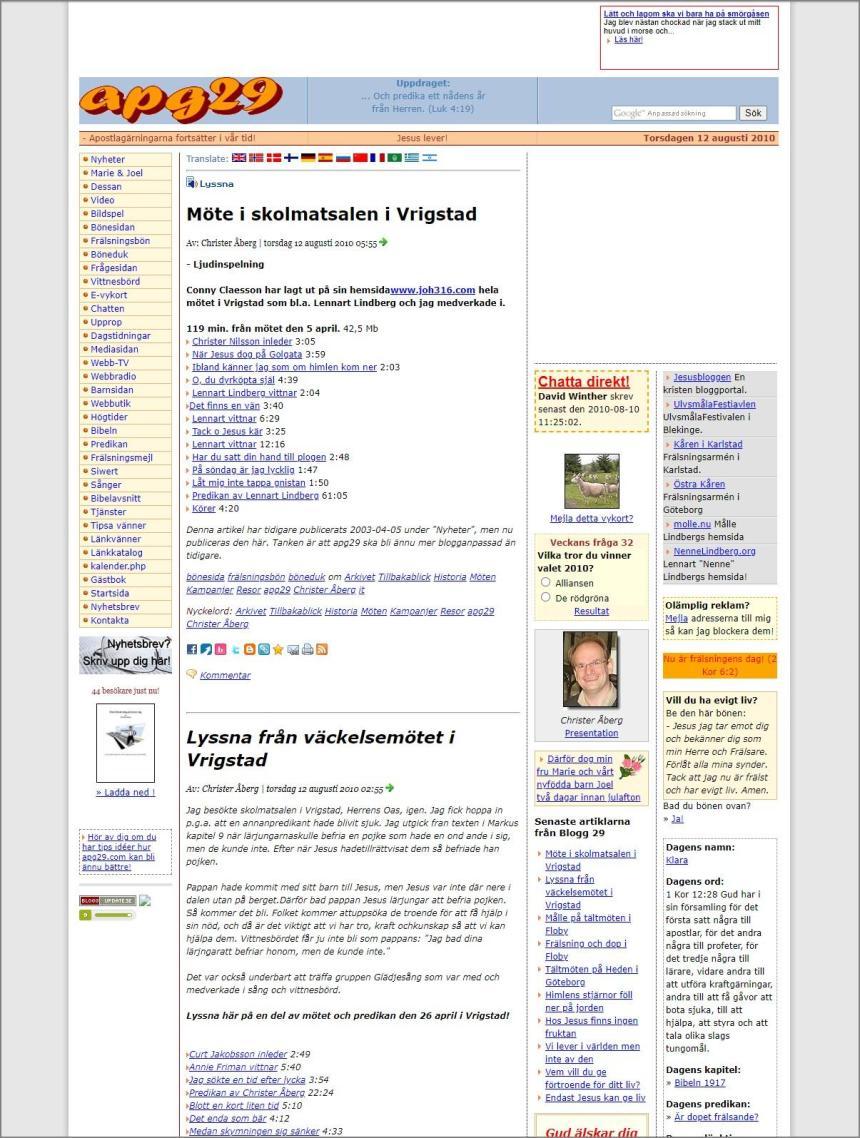 Bloggsajten Apg29 år 2010.