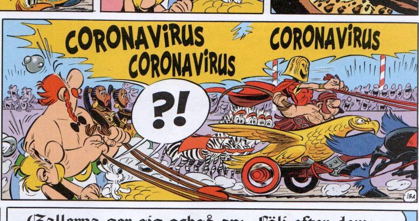 Coronaviruset i Asterix och det stora loppet.