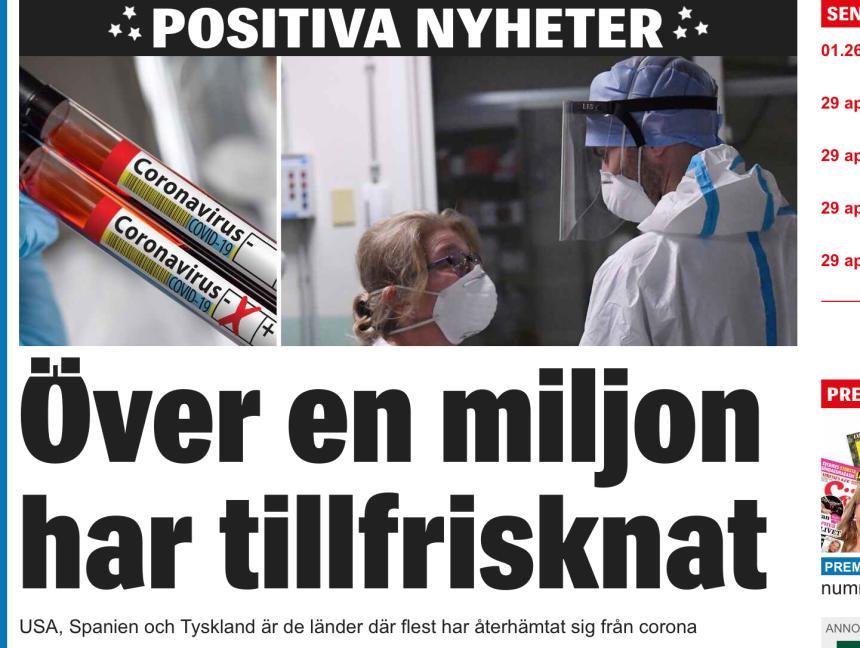 Över en miljon människor har nu återhämtat sig efter att ha smittats av coronaviruset, skriver Expressen.