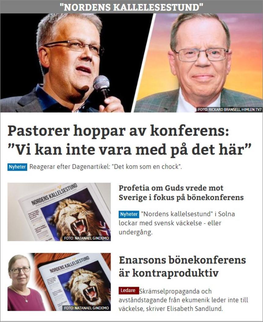 Er það Guð eða dagblað Dagen að stjórn? - Varðandi bönekonferensen í Solna.