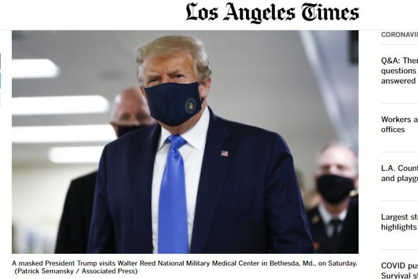 Donald Trump sjuk i Covid-19. Bild: latimes.com