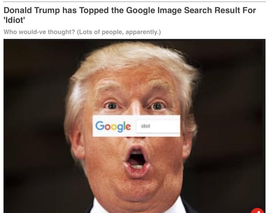 Donald Trump toppar bilsökningen på Google med ordet idiot.