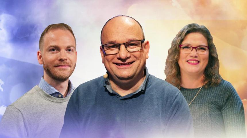 Programledare Daniela Persin med evangelisterna Christer Åberg och Jonatan Fransson.