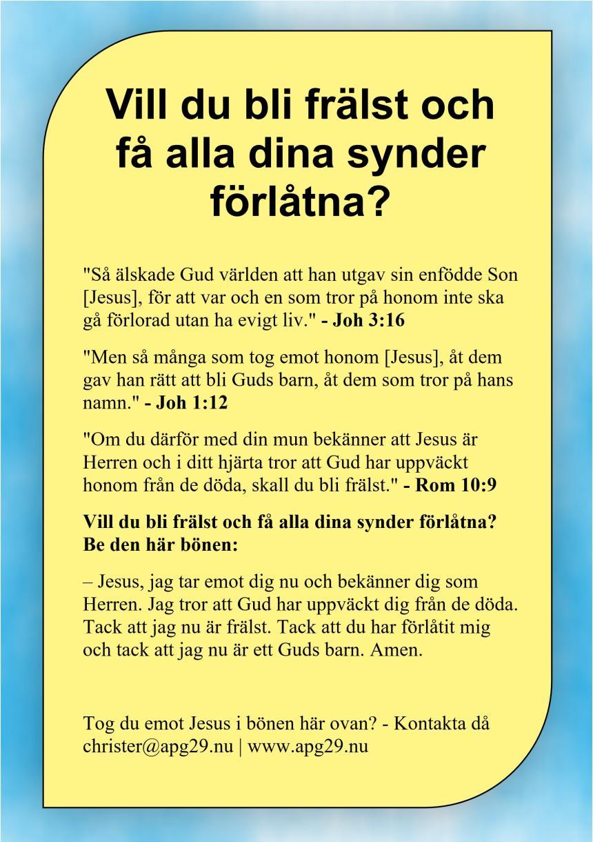 Vill du bli frälst och få alla dina synder förlåtna?