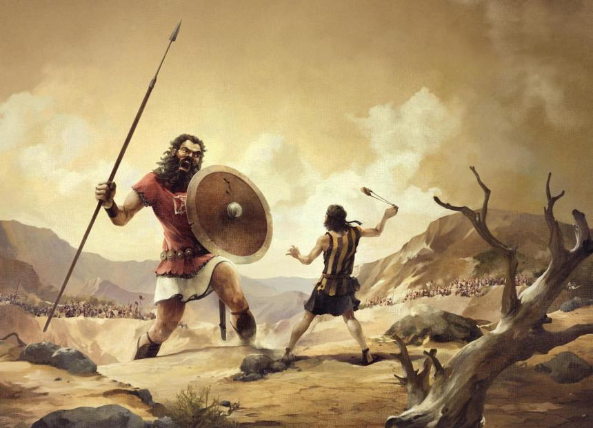 Jätten Goliat och David med slungan.