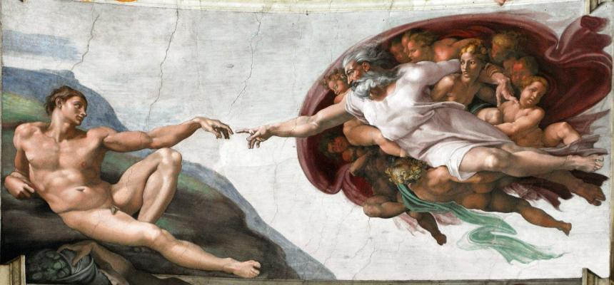 Adams skapelse målad av Michelangelo.
