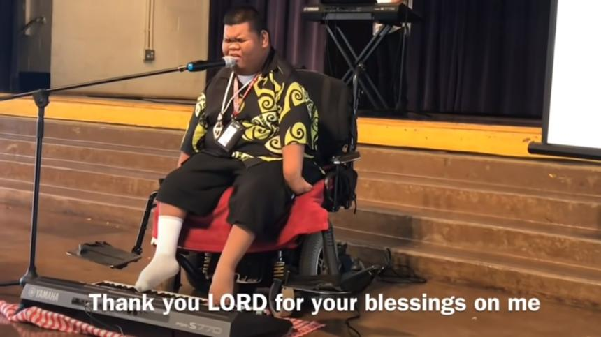 Handicapped singing Thank you Lord for all your blessings on me!