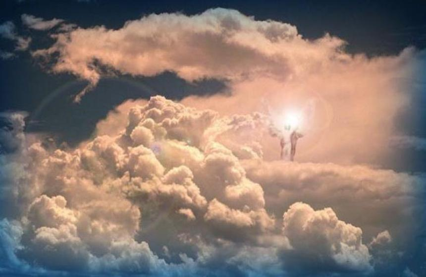 Jesus in the clouds of heaven.