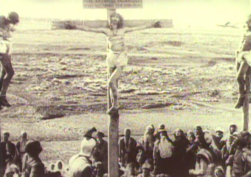 عیسی بر روی صلیب.