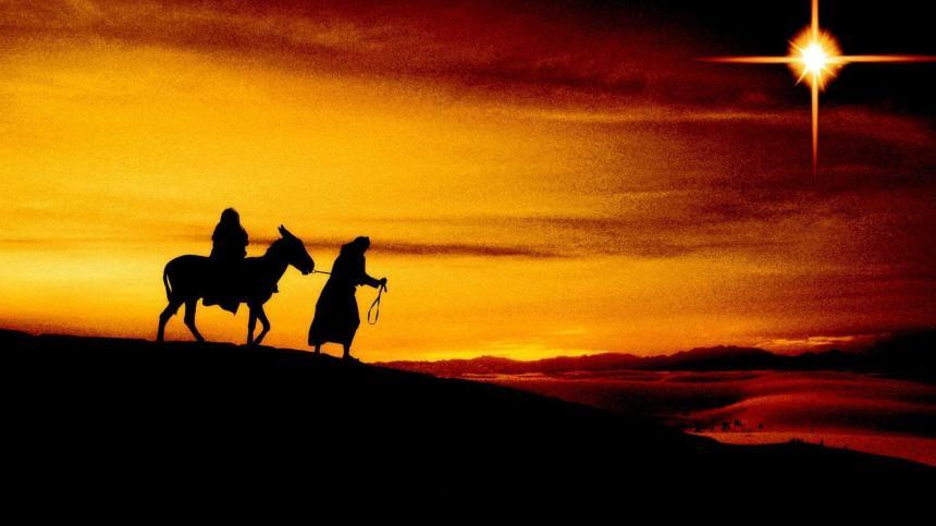 Maria på åsnan och Josef.