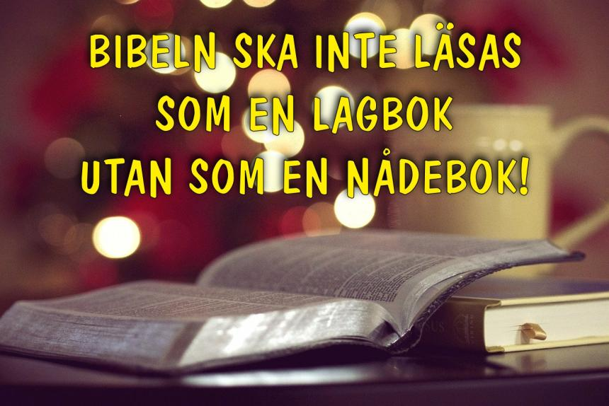 The Bible should not be read as a book of the law but as a nådebok.