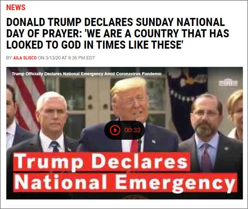 National Day of Prayer kunngjort av president Donald Trump