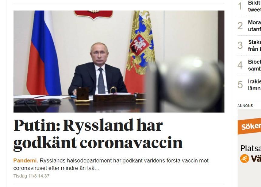 Putin: Ryssland har godkänt coronavaccin.
