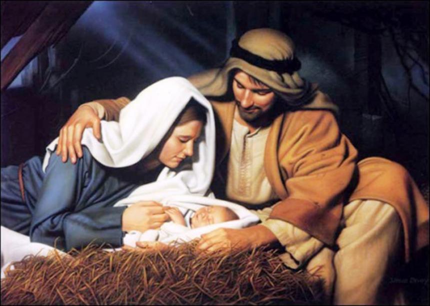 Jesus i krubban, Maria och Josef.