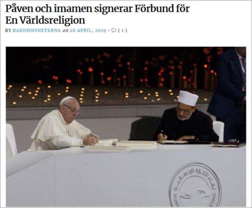 Påven och imamen signerar förbund för en världsreligion.