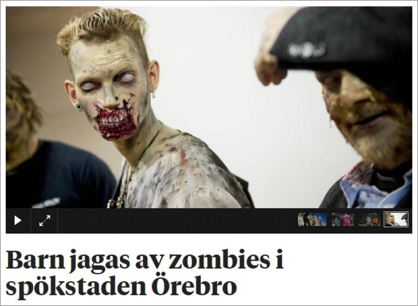 Leanaí chased ag zombies i mbaile taibhse de Orebro